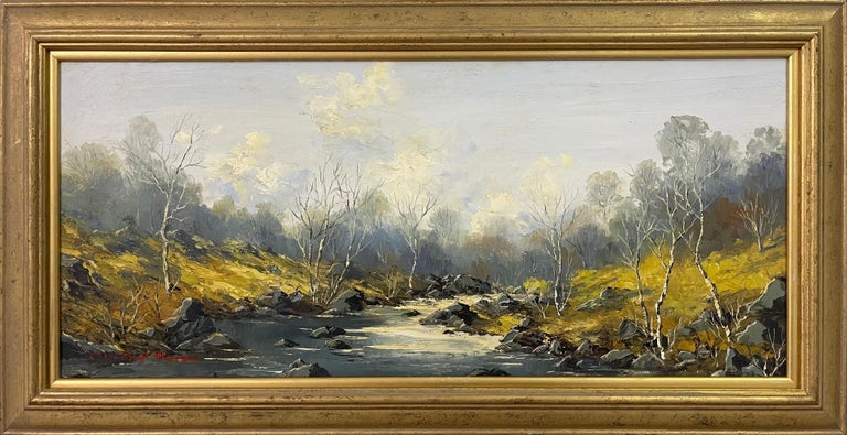 Charles Wyatt Warren Figurative Painting - Welsh River Landscape with Birch Trees Oil Painting by British Impasto Artist