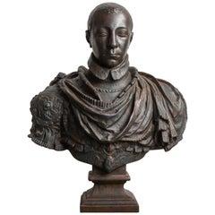 Charles X Bronzed Iron Museum Copy Bust, circa 19th Century