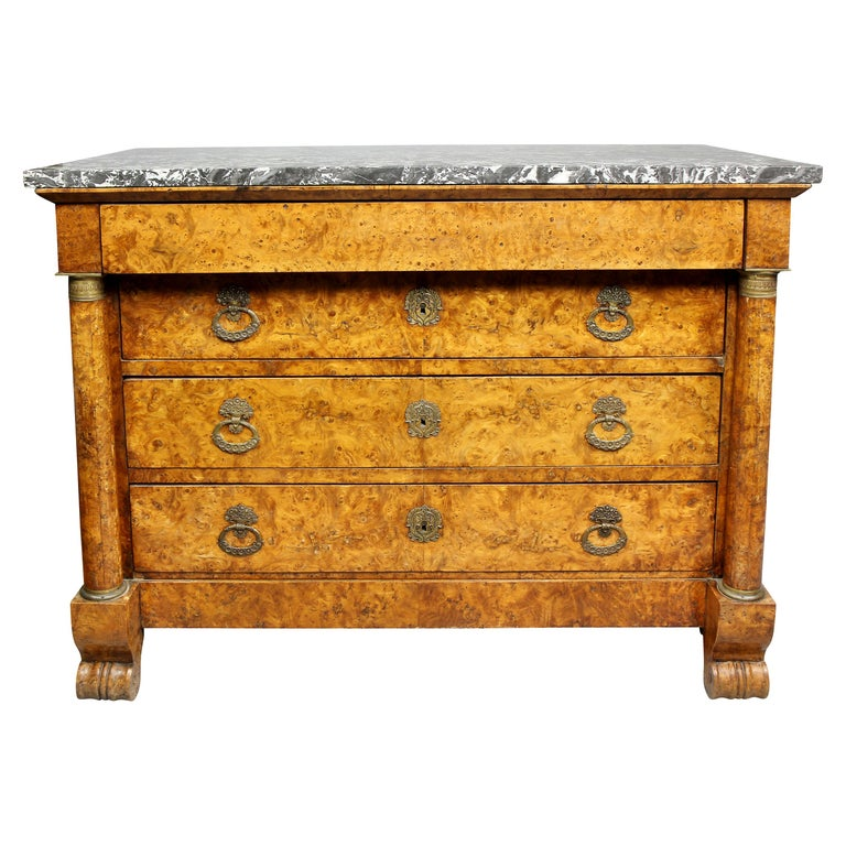 Charles X Burl Elm Commode For Sale