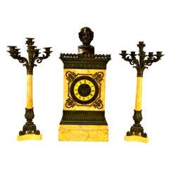 Charles X Clock and Garniture