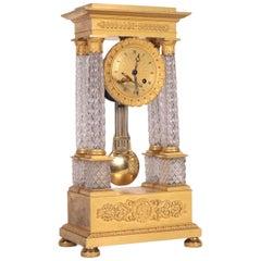Charles X Clock Crystal Gilded Bronze, France, circa 1830