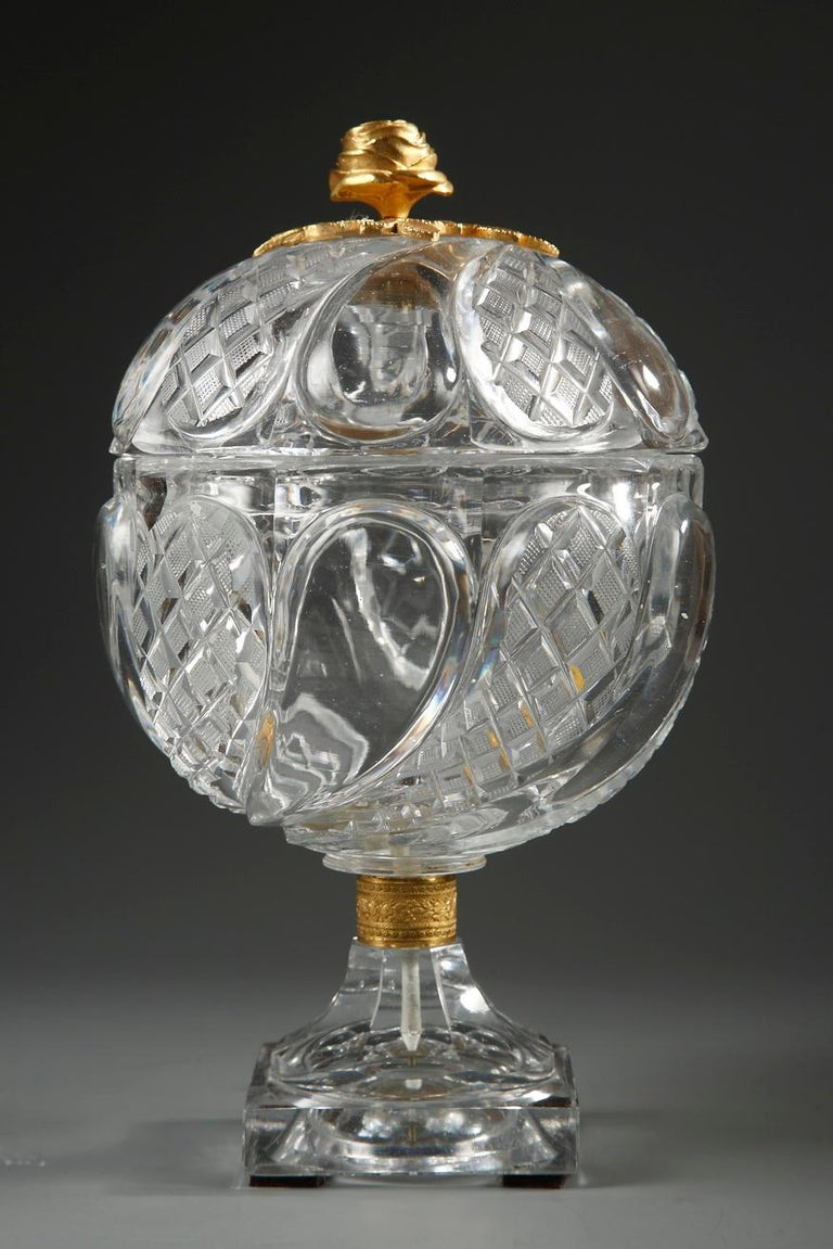 Charles X Cut-Crystal and Gilt Bronze Cup In Good Condition In Paris, FR