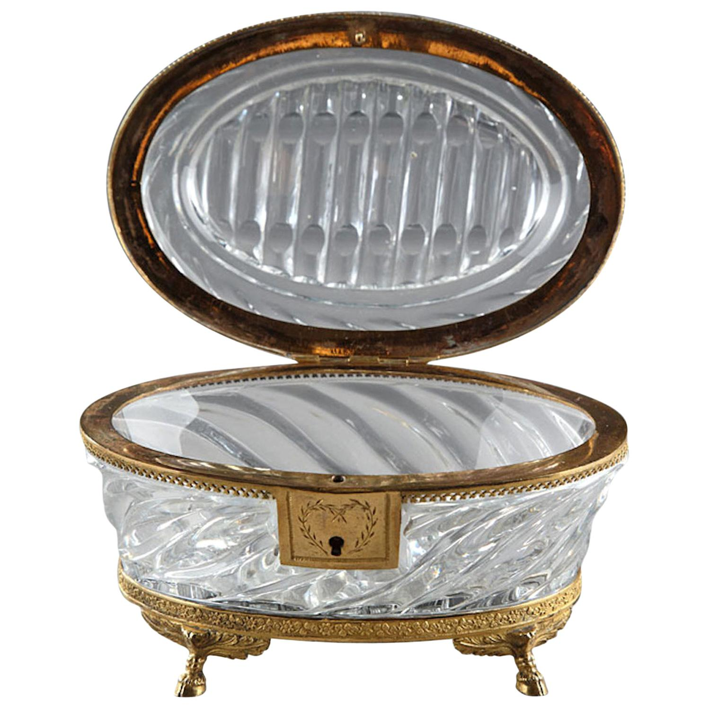 Charles X Cut-Crystal and Ormolu Jewelry Box