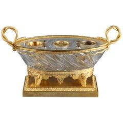 Charles X Cut Crystal Gilded Bronze Inkwell, circa 1815-1820