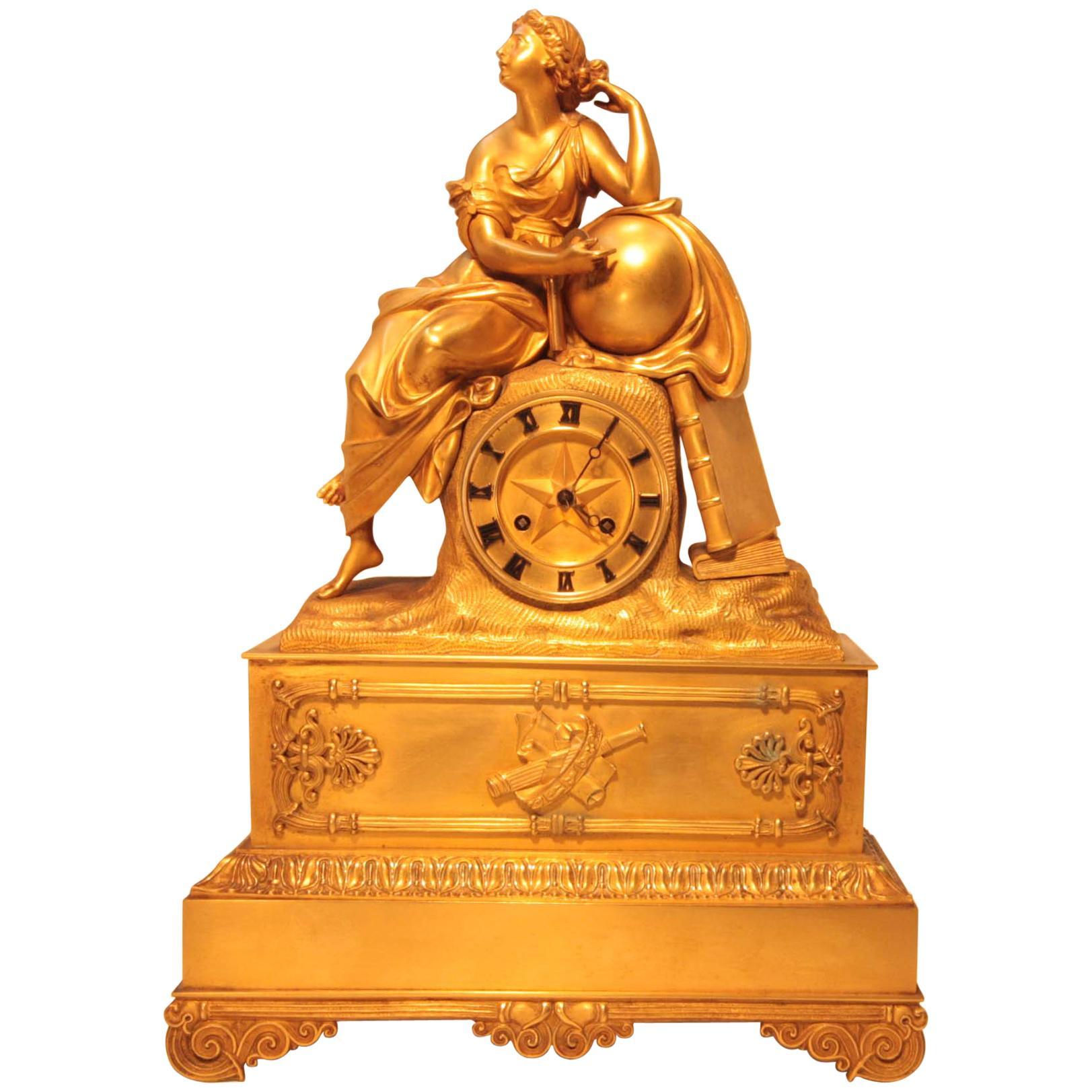 Charles X Figural Ormolu Mantel Clock Depicting Urania