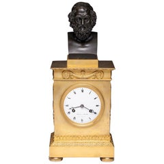 Charles X French Mantle Clock with Homer's Bust, 19th Century