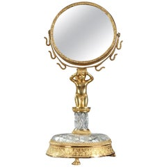 Charles X Gilt Bronze and Cut-Crystal Pivoting Mirror and Ring Holder