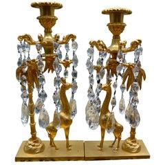 Charles X Gilt Bronze Giraffe Candlesticks