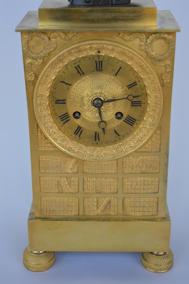 French Charles X Gilt Bronze Mantel Clock For Sale