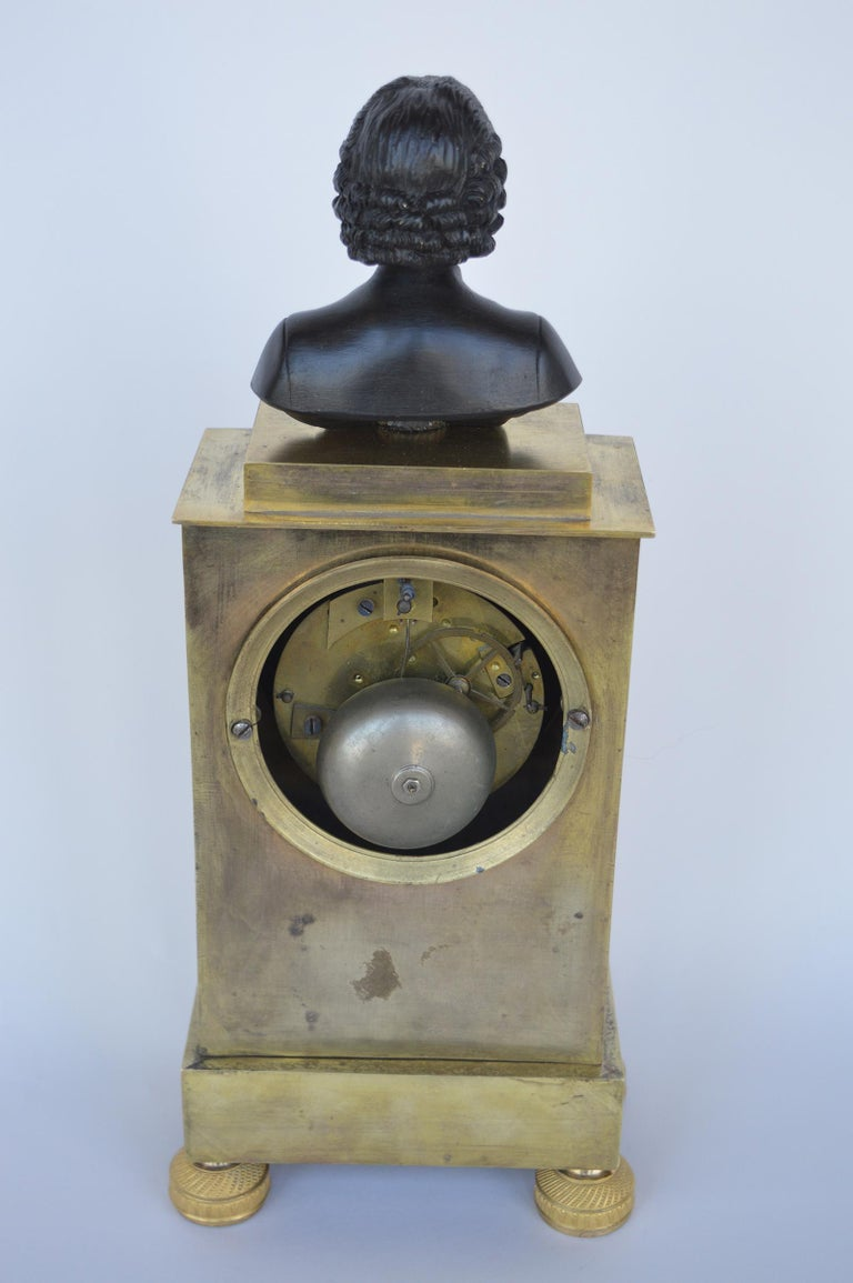 Charles X Gilt Bronze Mantel Clock In Good Condition For Sale In Los Angeles, CA