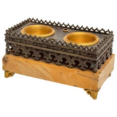 Charles X Gothic Revival Gilt and Patinated Bronze and Siena Marble Inkwell