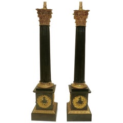 Charles X Neoclassical Style Patinated and Gilt Bronze Columnar Form Lamps, Pair