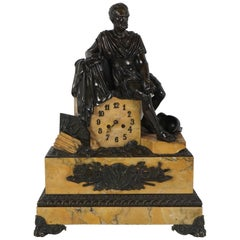 Charles X Period Bronze and Sienna Marble Clock