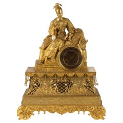 Charles X Period Clock in Golden Bronze, 19th Century