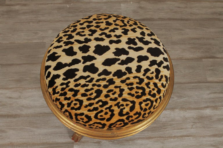 Charles X Style Giltwood Leopard Upholstered Stool, 20th Century In Excellent Condition For Sale In Lambertville, NJ