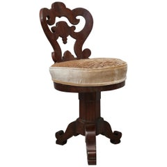 Charles X Walnut Wood and Velvet Italian Swivel Chair Piano, 1830