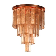 Ceiling lamp Copper Murano Glass Listels brushed copper fixture by Multiforme