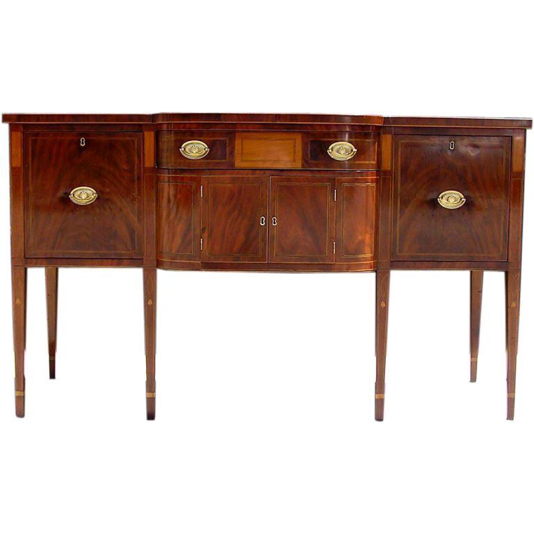 Charleston Classical Hepplewhite Mahogany & Satinwood Inlaid Sideboard. C. 1790 For Sale