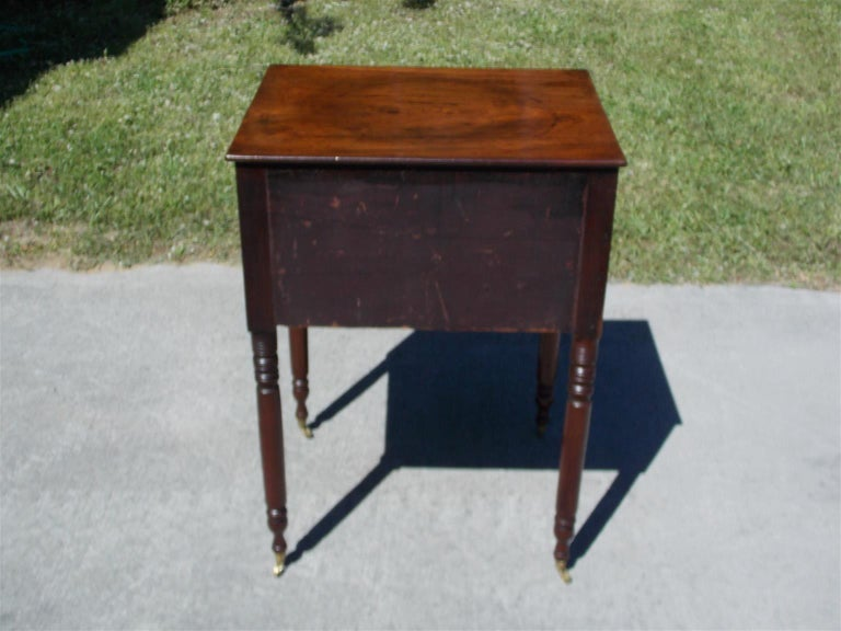 Charleston Federal Mahogany Stand with Original Wood Knobs & Casters. Circa 1820 For Sale 3