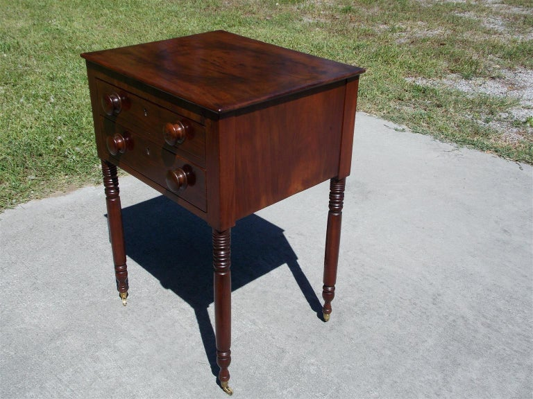 American Charleston Federal Mahogany Stand with Original Wood Knobs & Casters. Circa 1820 For Sale