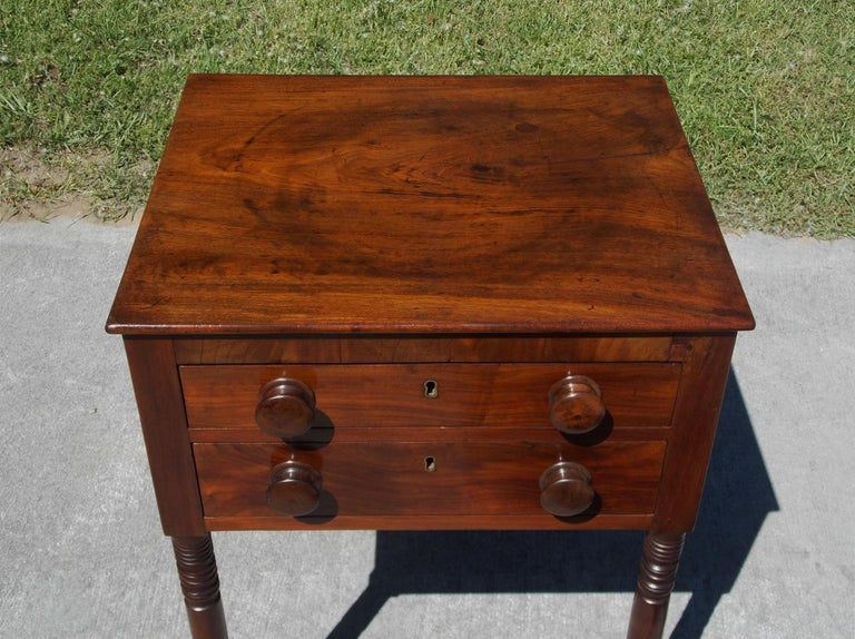 Hand-Carved Charleston Federal Mahogany Stand with Original Wood Knobs & Casters. Circa 1820 For Sale