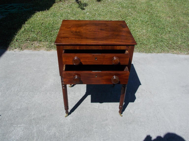 Charleston Federal Mahogany Stand with Original Wood Knobs & Casters. Circa 1820 In Excellent Condition For Sale In Charleston, SC