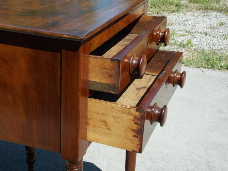Early 19th Century Charleston Federal Mahogany Stand with Original Wood Knobs & Casters. Circa 1820 For Sale