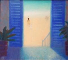 Charlie Baird, Blue Shutters, Original Painting, Caribbean Art, Affordable Art
