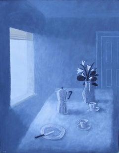 Charlie Baird, Morning Coffee, Still Life Art, Contemporary Art, Blue Art