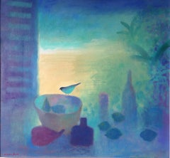 Charlie Baird, Still Life with Bird and Fruit, Original Still Life Painting