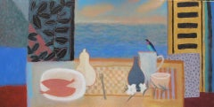 Charlie Baird, Two Fish and Bird, Original Still Life Painting, Affordable Art