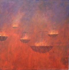 Charlie Baird, Votive Boats, Original Painting, Seascape Art, Affordable Art