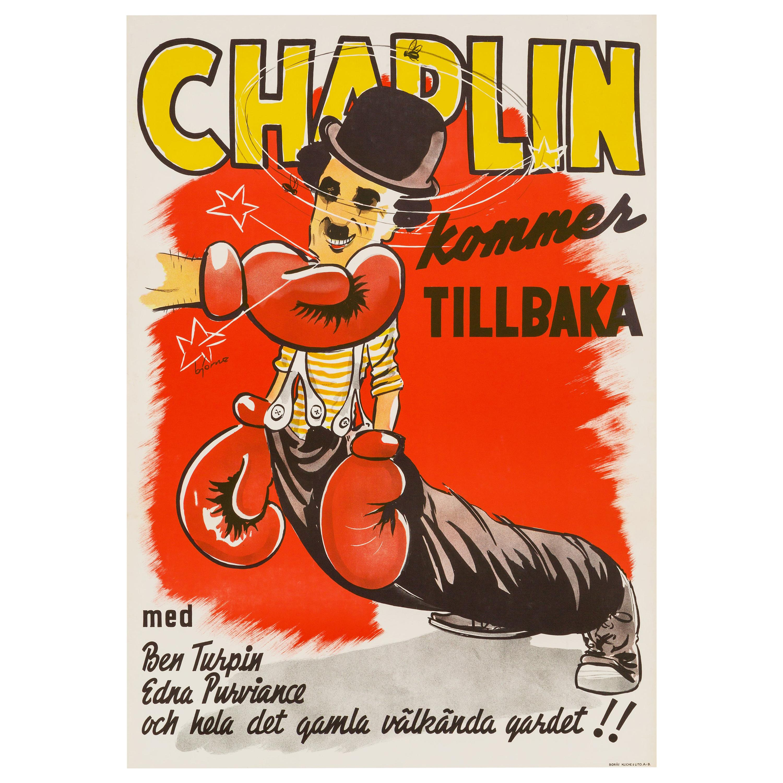 Charlie Chaplin 'The Champion' Original Vintage Movie Poster, Swedish, 1944