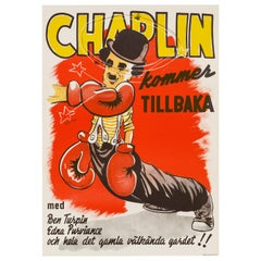 Charlie Chaplin 'The Champion' Original Vintage Movie Poster, Swedish, 1944