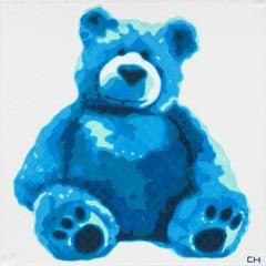 """""""Teddy in Blue"""" - Contemporary Pointillist Painting - Teddy Bear - Chuck Close"""