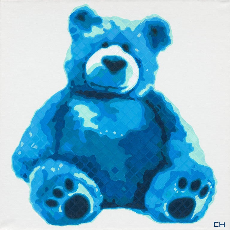 "Charlie Hanavich Abstract Painting - ""Teddy in Blue"" - Contemporary Pointillist Painting - Teddy Bear - Chuck Close"
