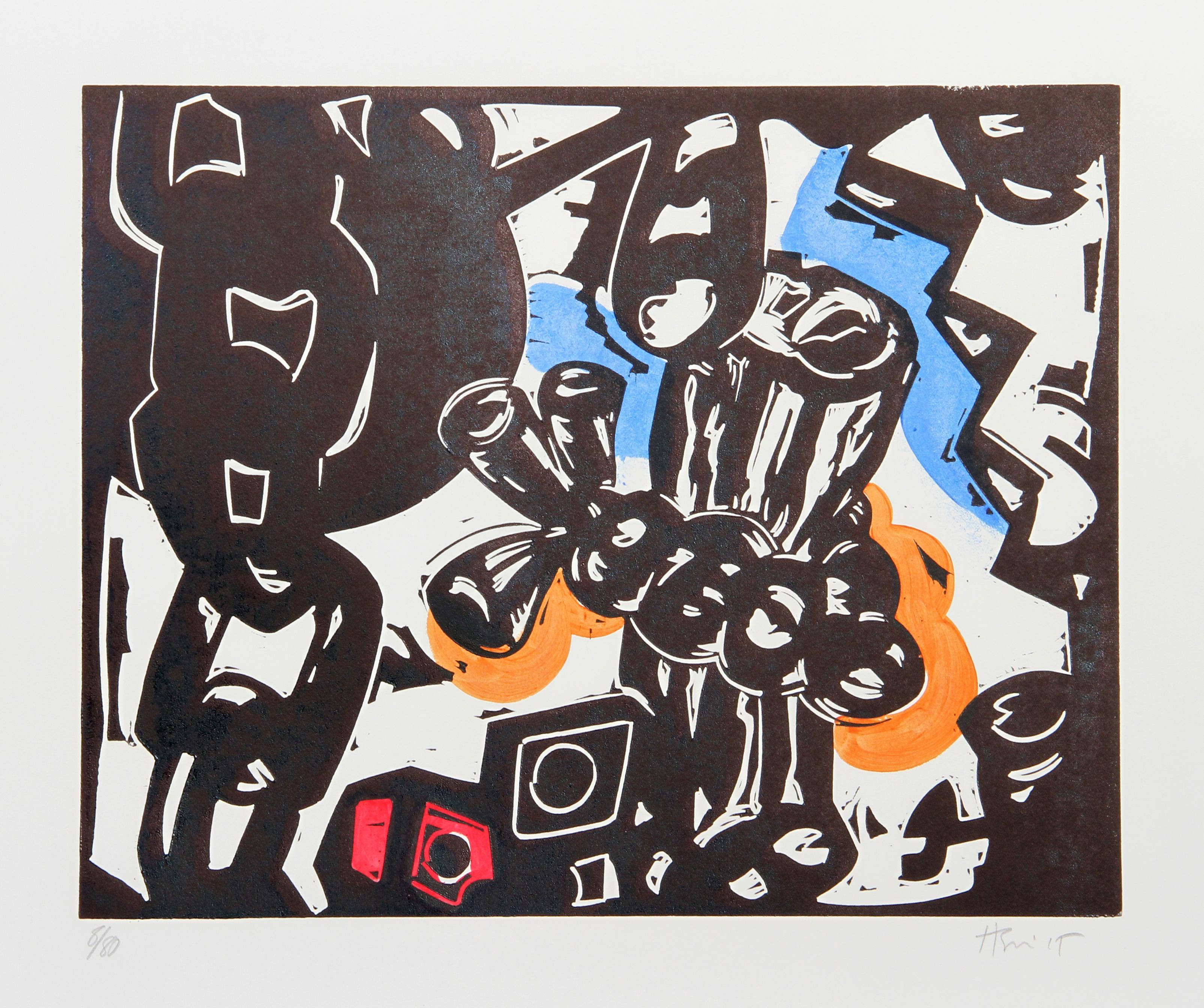 """""""A"""" Abstract Woodblock Print by Charlie Hewitt"""