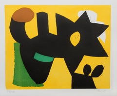 Cat and Mouse, Abstract Woodblock Print by Charlie Hewitt