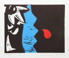 """H"" Abstract Woodblock Print by Charlie Hewitt"