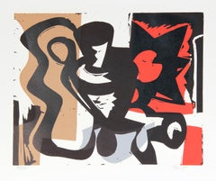 """""""I"""" Abstract Woodblock Print by Charlie Hewitt"""