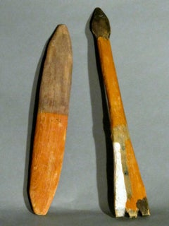 ARROW AND BULL ROARER, wood folk art orange brown white Charlie Willeto Navajo