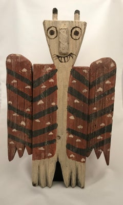 Owl, Navajo Folk art, rustic, red, white, hearts, Santa Fe