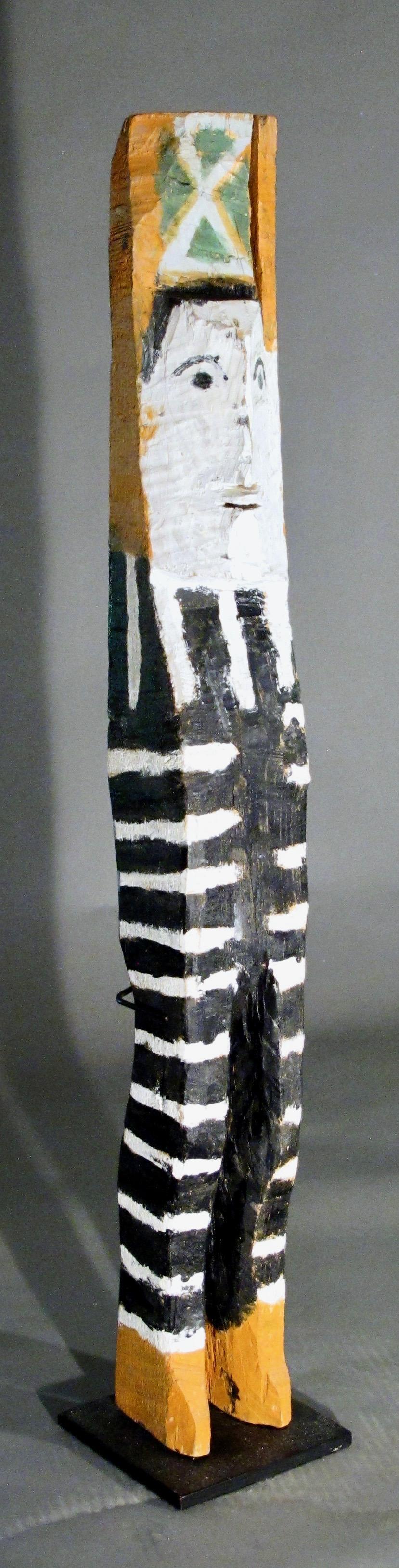 Standing Figure, Charlie Willetto Navajo Folk Art wood black white green orange