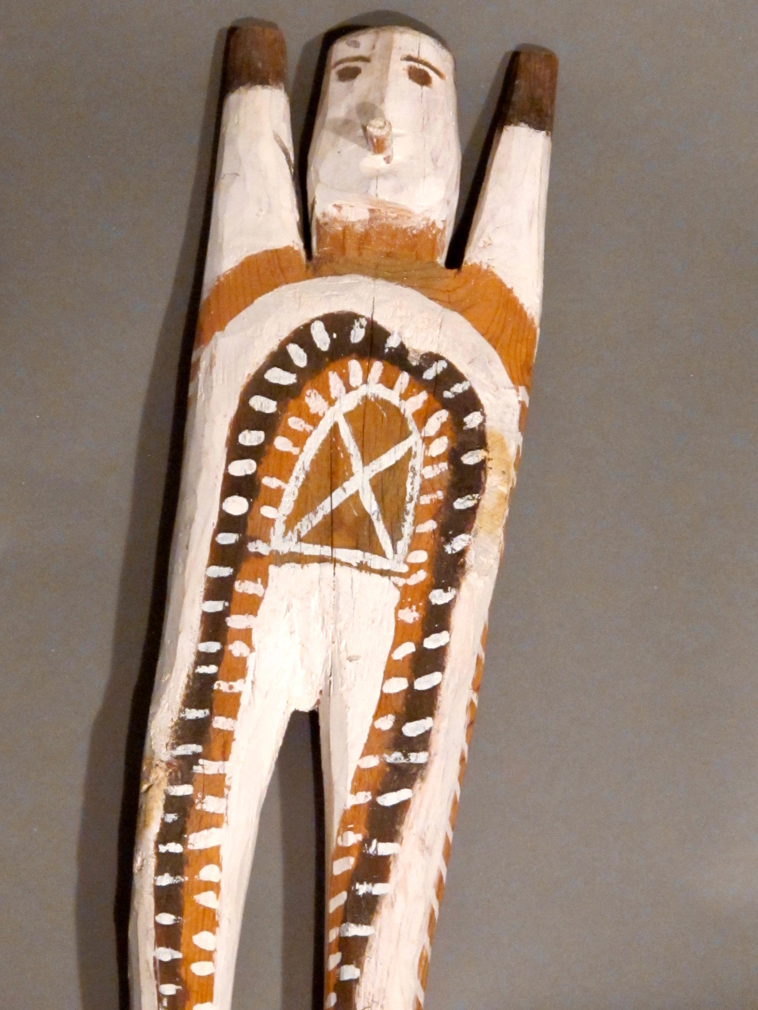 Untitled Figure with X on Chest by Charlie Willeto, Navajo Folk Art, wood, paint