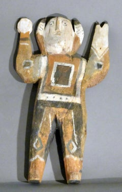 Untitled Man with Rattle and Staff, wood, housepaint, Navajo Folk Art, buffalo
