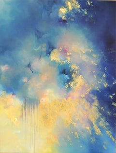 Radiance - Charlotte Aiken, Abstract, Gold leaf, British, Space, Sublimity, Blue