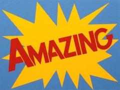 """Amazing Painting"" Pop-Art Americana Red Yellow Blue bold bright & cartoon- like"