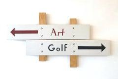 """Art/Golf""   Pop-Art Americana, Humorous. Red/ Black /White Construction, Sports"