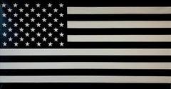 """Black and White""  Americana, Pop, Flag, Black/Grayish Taupe, Minimal, Abstract"