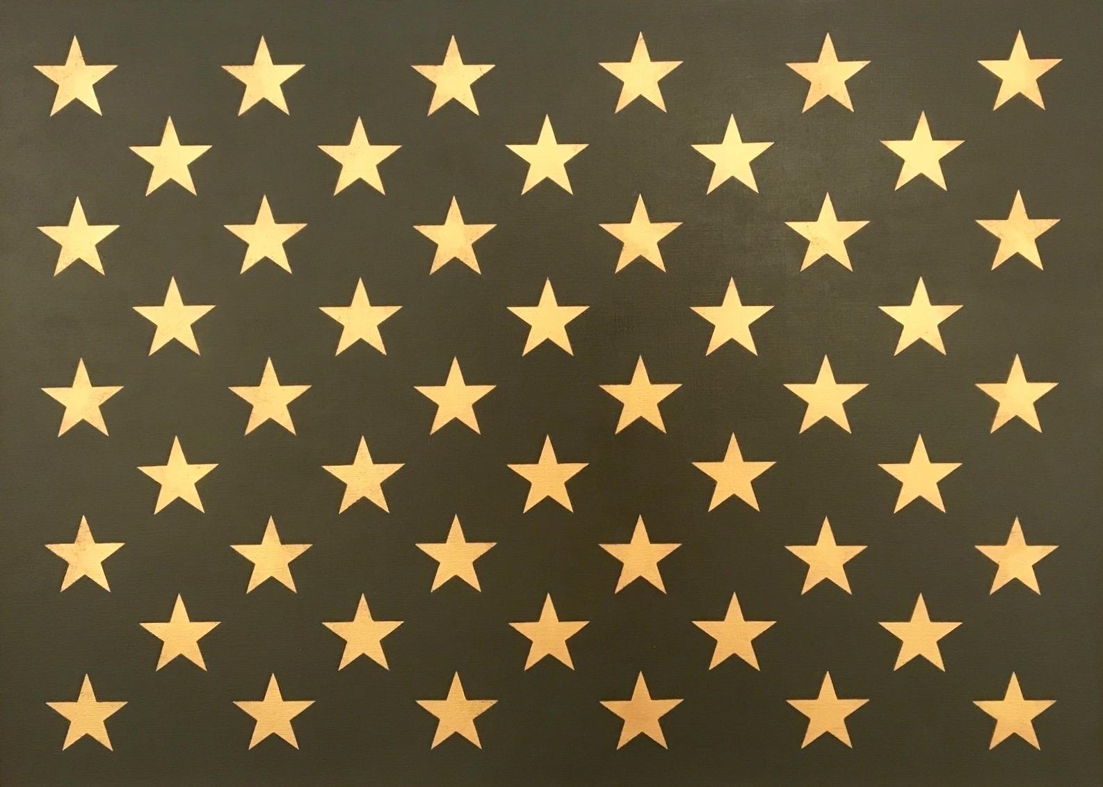 """""""Canton Olive and Gold""""  Pop-Art Americana Star Contemporary Oil/ 23K Gold Leaf"""